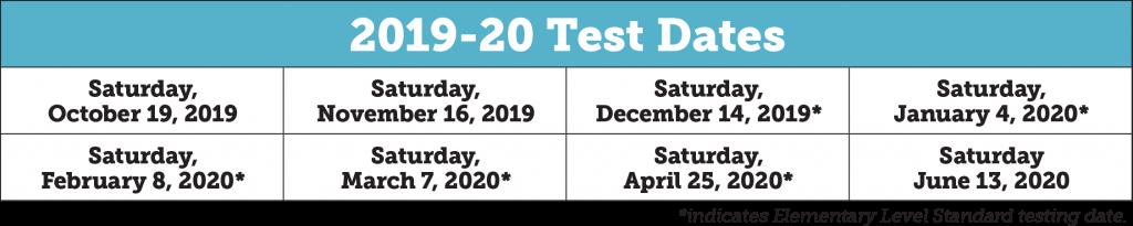 SSAT Test Dates 2019-2020